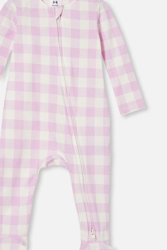 The Snug Long Sleeve Zip Romper, PALE VIOLET/VANILLA MAXI GINGHAM