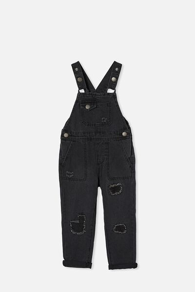 Ginnie Slouch Overall, BLACK WASH/RIPS