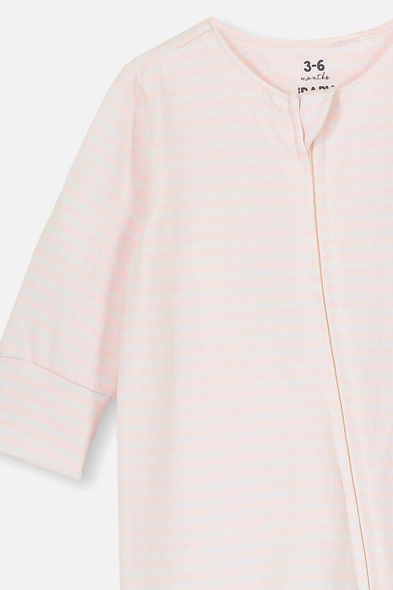 The Long Sleeve Zip Romper, CHRIS STRIPE CRYSTAL PINK/WHITE