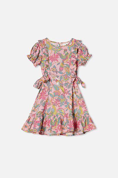 Beattie Short Sleeve Dress, MARSHMALLOW/GARDEN OF BIRDS