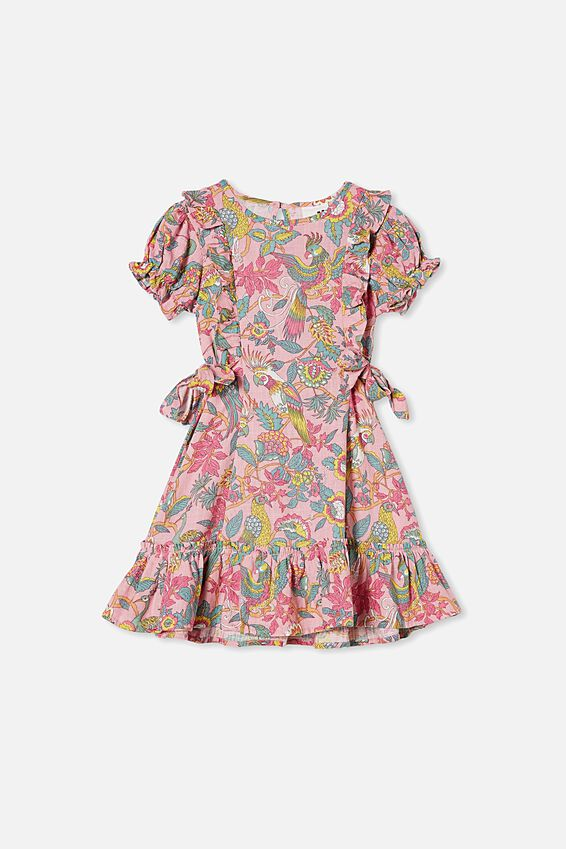 Beattie Short Sleeve Dress, MARSHMALLOW/GARDEN OF BIRDS