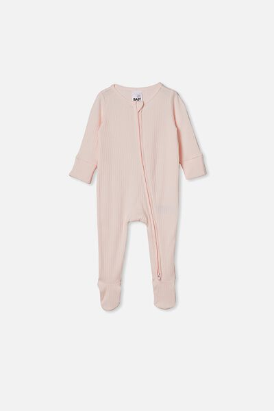 Organic Newborn Zip Through Romper, CRYSTAL PINK