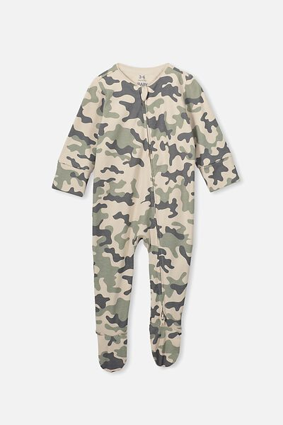 The Long Sleeve Zip Romper, RAINY DAY/CAMO