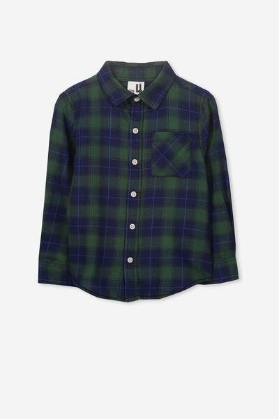 Noah Long Sleeve Shirt, GREEN/NAVY CHECK
