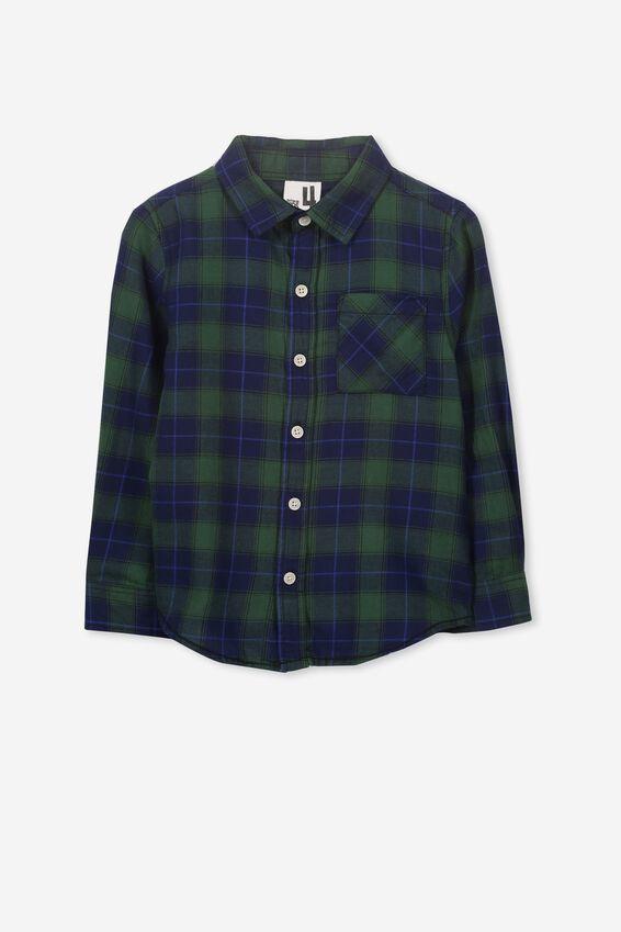 Noah Long Sleeve Shirt, GREEN/NAVY CHECK