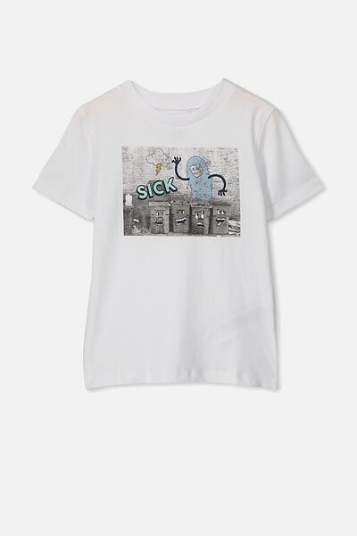 Max Skater Short Sleeve Tee, WHITE MONSTER PRINT