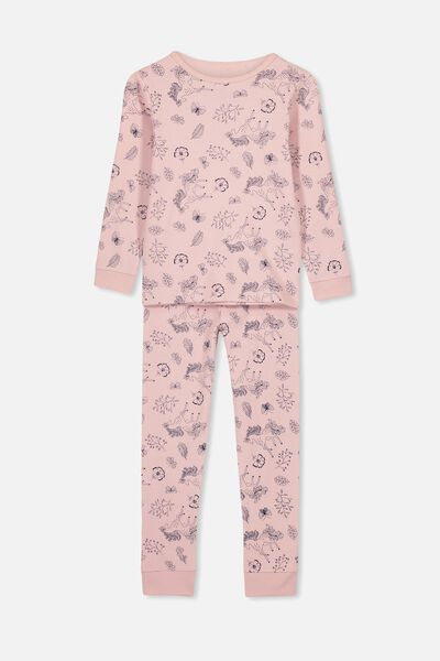 Alicia Long Sleeve Girls PJ Set, SILVER PINK UNICORN