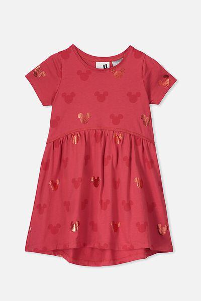 Freya Short Sleeve Dress, LCN DIS LUCKY RED/MICKEY HEADS