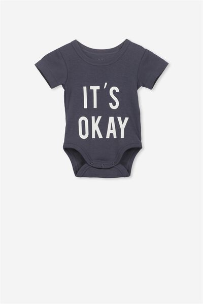 Newborn Short Sleeve Bubbysuit, INDIAN INK/ITS OK