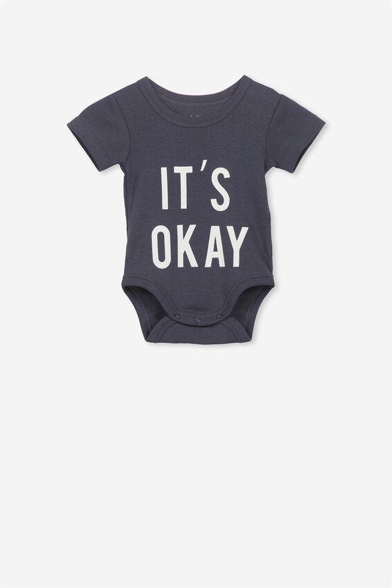 Newborn Short Sleeve Bubbysuit, INDIAN INK/ITS OK