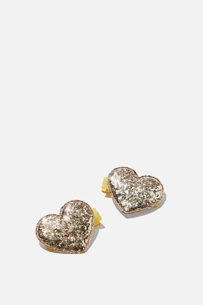 Hair Clips, GOLDEN HEART GLITTER