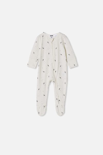 The Long Sleeve Zip Romper, VANILLA/ROCKETS