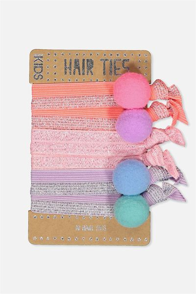 Knot Messy Hairties, METALLIC/POM POM