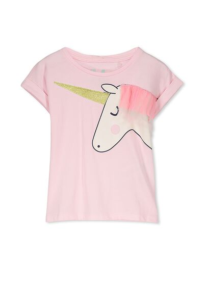 Girls Short Sleeve Halloween Tee, PASTEL PINK/UNICORN RUFFLES