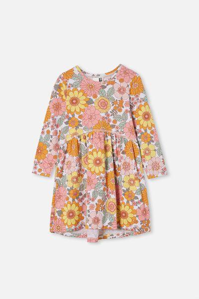 Freya Long Sleeve Dress, SUMMER GREY MARLE/RETRO FLORAL