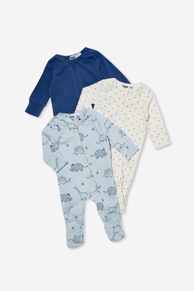 3 Pack Long Sleeve Zip Romper Footed, PETTY BLUE/BETTY SPOT/ FROSTY BLUE DINO