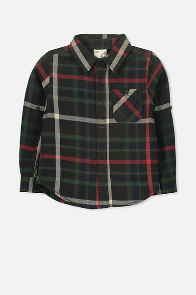 Noah Long Sleeve Shirt, BLACK MULTI CHECK