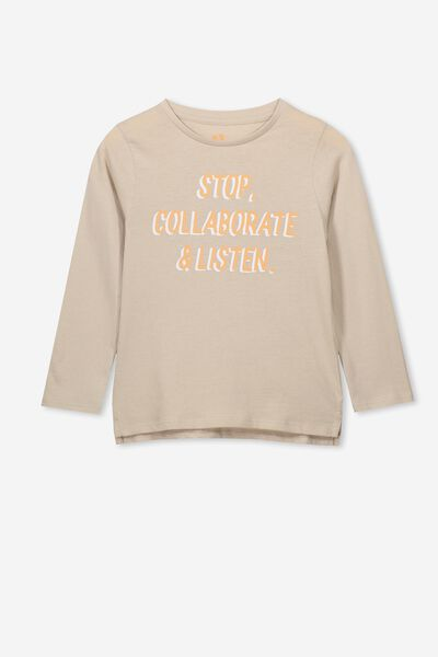 Penelope Long Sleeve Tee, RAINY DAY/STOP COLLABORATE/SET IN