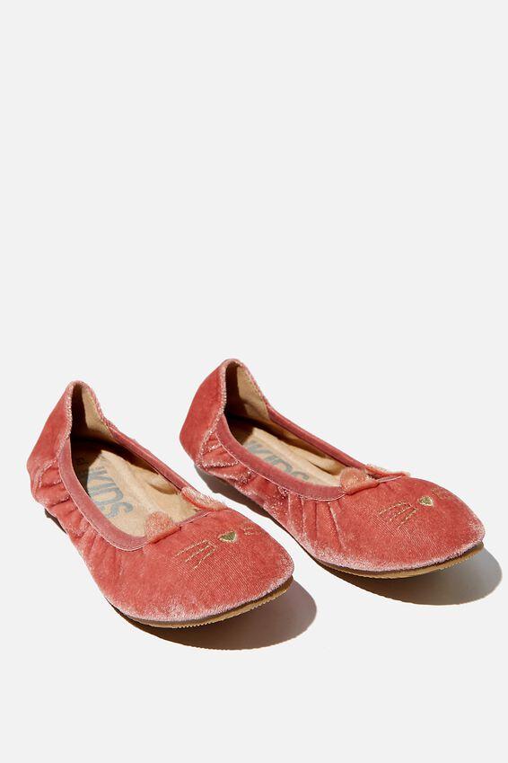 Primo Ballet Flats, DUSTY ROSE VELVET CAT