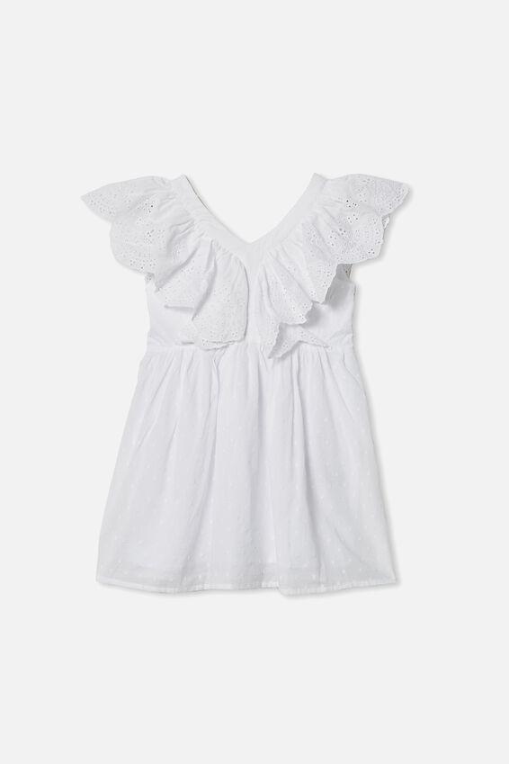 Claire Sleeveless Dress, WHITE