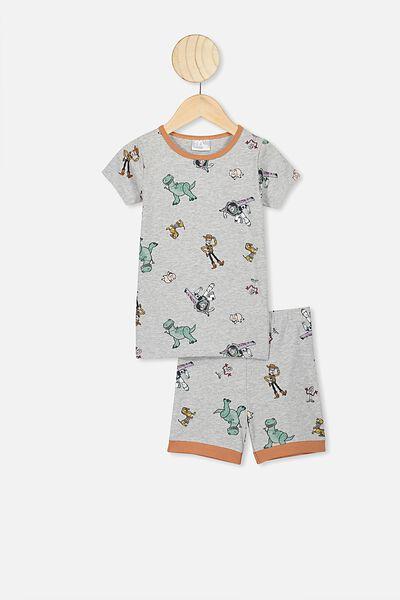 Ted Short Sleeve Pajama Set, LCN DIS SUMMER GREY MARLE/TOY STORY 4