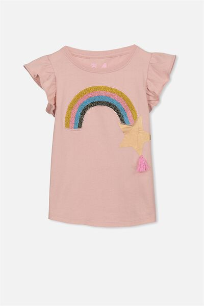 Anna Short Sleeve Flutter Tee, SILVER PINK/RAINBOW AND STAR