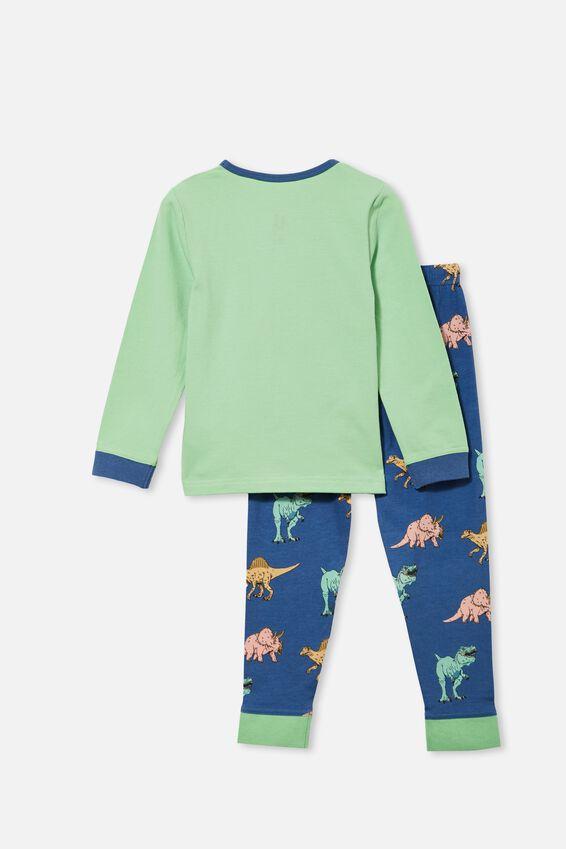 Orlando Long Sleeve Pyjama Set, DREAMING DINOSAUR/ SPEARMINT