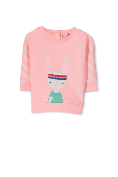 Louella Fleece Jumper, PINK SORBET/SPORTY BUNNY