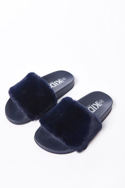Fluffy Mini Wild Slide, NAVY MONO