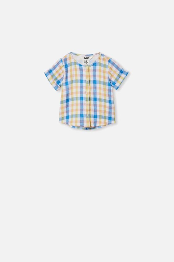 Mike Short Sleeve Shirt, BLUE BIRD/KEANAN CHECK