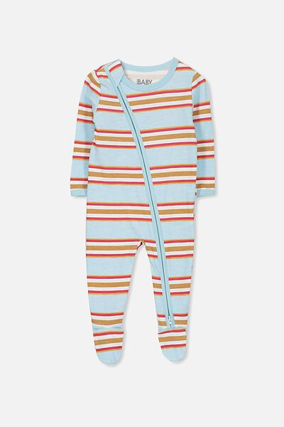 Sleep Mini Zip All In One Jumpsuit, CLEARWATER/RETRO STRIPE