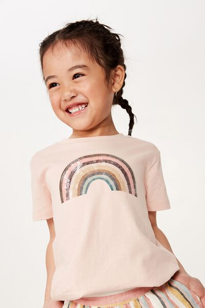 Stevie Ss Embellished Tee, PEACH WHIP/RETRO RAINBOW/MAX