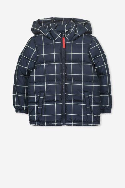 Frankie Puffer Jacket, NAVY/VANILLA CHECK