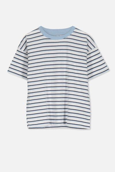 Max Loose Fit Tee, BX/BUDGIE BLUE STRIPE