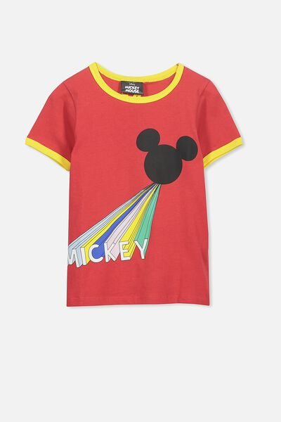 Lux Short Sleeve Tee, MICKEY BONFIRE RED/RINGER
