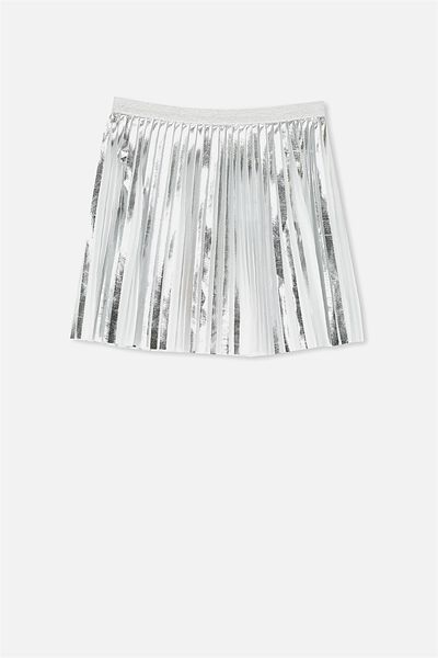 Penny Pleat Skirt, SILVER/MINI PLEAT