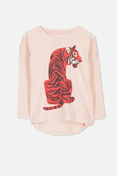 Penelope Long Sleeve Tee, SHELL PEACH/TIGER/DROP
