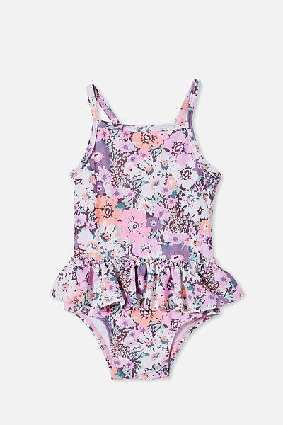 Lucinda Ruffle Swimsuit, DUSK PURPLE/FLORAL BOUQUET