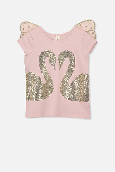 Lana Short Sleeve Tee, DUSTY PINK/GOLD SWANS