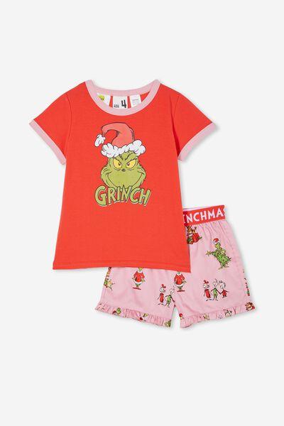 Noelle Kids Short Sleeve Pyjama Set Licensed, LCN DRS GRINCH FACE MARSHMALLOW