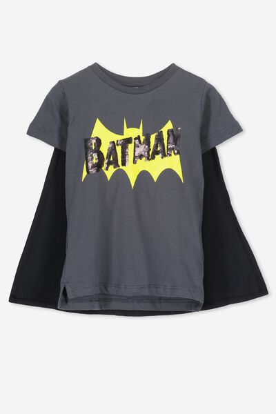 Short Sleeve License Cape Tee, GRAPHITE/BATMAN SEQUIN