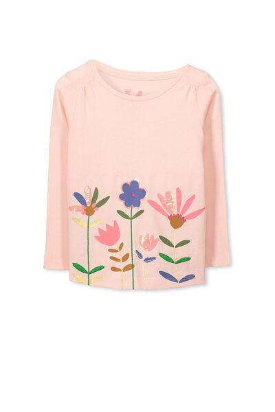 Anna Ls Applique Tee, SEA PINK/FLOWERS