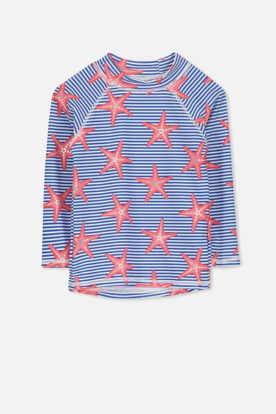 Hamilton Long Sleeve Rash Vest, PRINCESS BLUE STRIPE/STAR FISH FUN