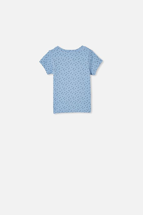 Henry Short Sleeve Placket Top, POWDER PUFF BLUE/MINI STARS
