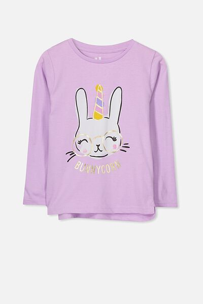 Penelope Long Sleeve Tee, SWEET LILAC/BUNNYCORN/SET IN