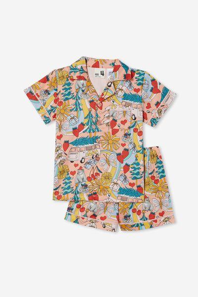 Patty Short Sleeve Pyjama Set, AUSTRALIANA XMAS/MUSK MELON