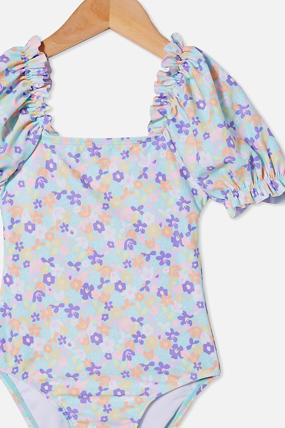 Paige Puff Sleeve One Piece, DREAM BLUE/PAPERCUT FLORAL