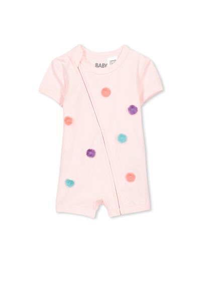 Mini Ss Zip Through Romper, BUBBLEGUM PINK/POM POM