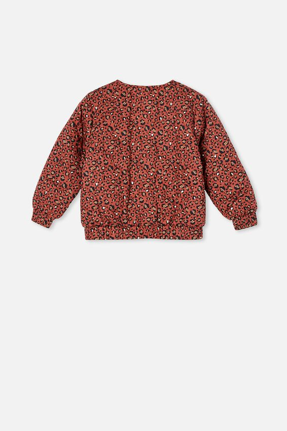 Ellie Woven Quilted Jacket, CHUTNEY/SNOW LEOPARD