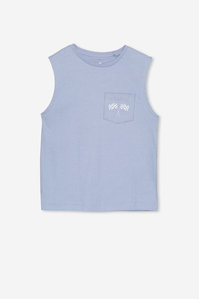Otis Muscle Tank, DUSTY BLUE/RACE FLAGS